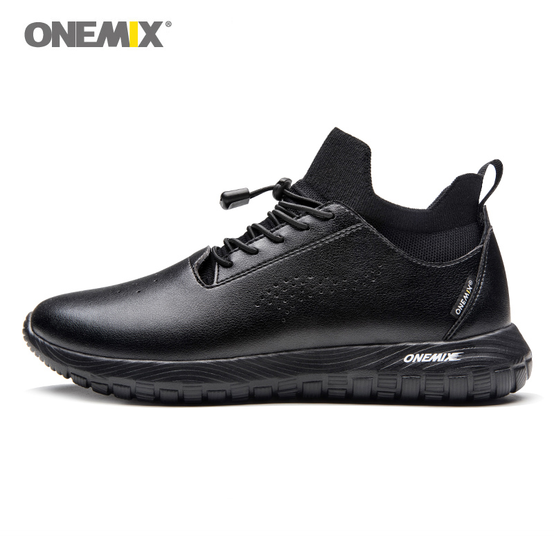 Onemix Men Running Shoes for Women Black Microfiber Leather Designer Trail Jogging Sneakers Outdoor Sport Walking Socks Trainers ifrich big size running shoes for men spring autumn sport walking sneakers leather mens trainers brand black white trail shoes