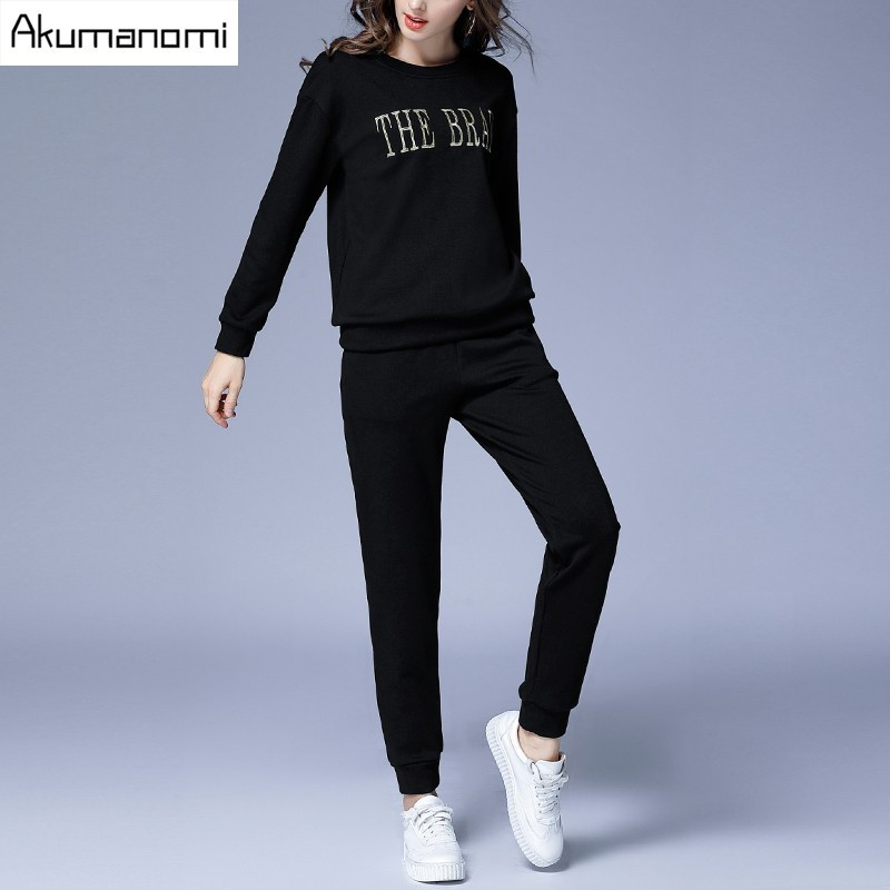 2 Piece Set Thicken hoodie Fleece letter Embroidery Tops Elastic Waist Full Length Trousers Pants Winter  Autumn Two Piece Set
