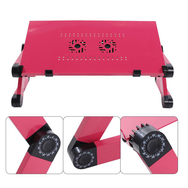Larger Portable Laptop Folding laptop Table Double Fan Desk 480mm Bed Sofa Tray 360 rolling Adjustable Computer table Desk BA50