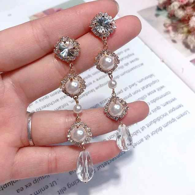 MENGJIQIAO 2018 New Elegant Rhinestone Crystal Pendant Long Pendientes Mujer Moda Fashion Simulatd Pearl Temperament Earrings