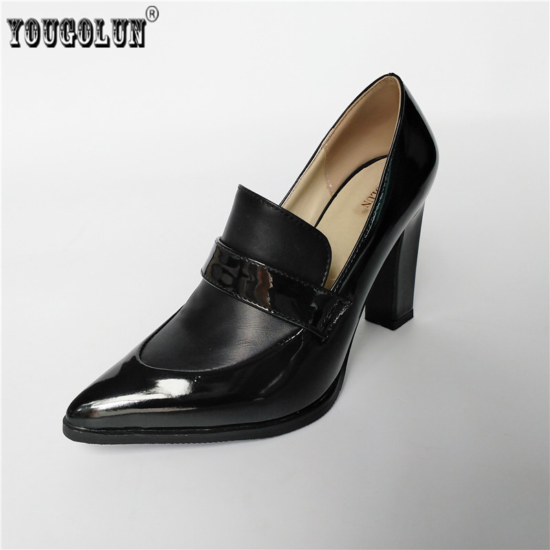 YOUGOLUN woman fashion pointed toe Thick high heels pumps women apring autumn work shoes ladies elegant