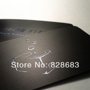 High quality black paper business card  300gms art paper from Belgium hot stamping foil UV spot 500 cards