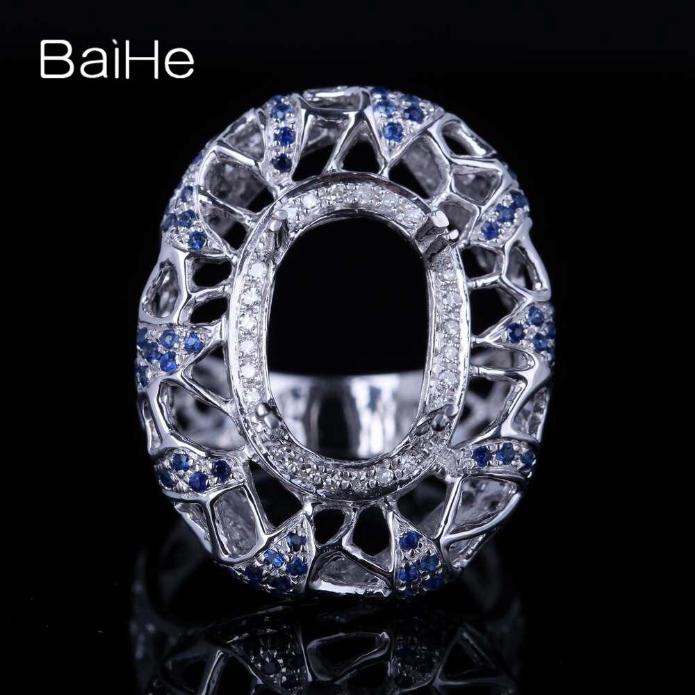 BAIHE solide 14 K or blanc (AU585) certifié ovale coupe anniversaire femmes mignon/romantique bijoux fins élégant unique Semi monture anneau