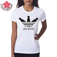 Cherry Blossom Summer Style Women T Shirt ALCOHOL Letter Printed Short Sleeve Casual Tees Tops Female