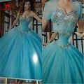 2016 New Hot Azul Quinceanera Vestidos Vestidos de Baile Beading Cristal Doce 16 Vestido Para 15 anos Vestidos De 15 Años