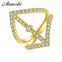AINUOSHI 14K Solid Yellow Gold Double Wedding Band Ring Extended Arrow Cluster SONA Diamond Engagement Ring Jewelry for Women