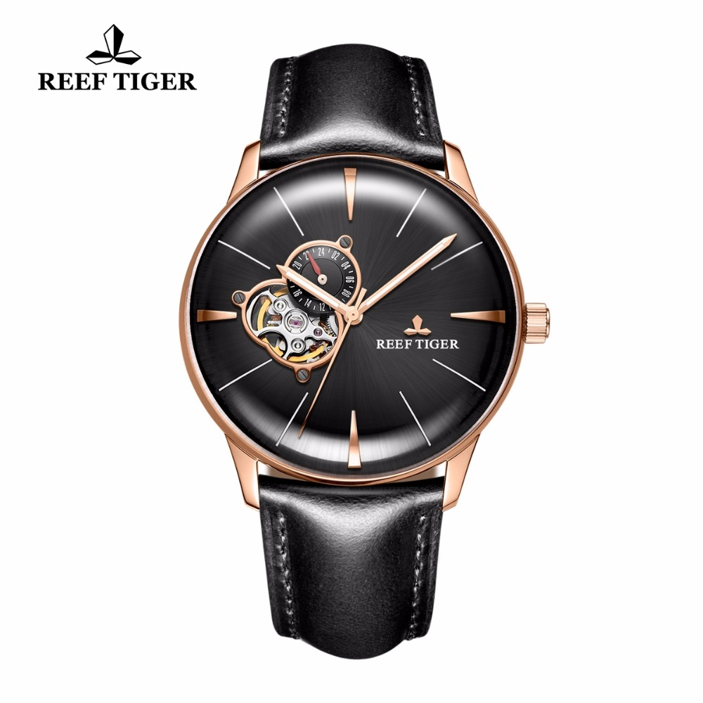 New Reef Tiger/RT Men's Luxury Casual Watches Tourbillon Convex Lens Watches Rose Gold Automatic Watches Leather Strap RGA8239