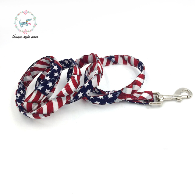 Stars and Stripes Collar and Leash set with Bow Tie 2