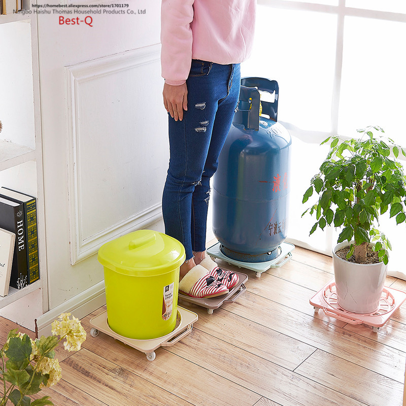 Free Shipping Kitchen Gas Tank, Mobile Storage Rack, Thickened Plastic  Moving Base, Tray, Flowerpot, Bucket, Roller Support In Storage Baskets  From Home ...