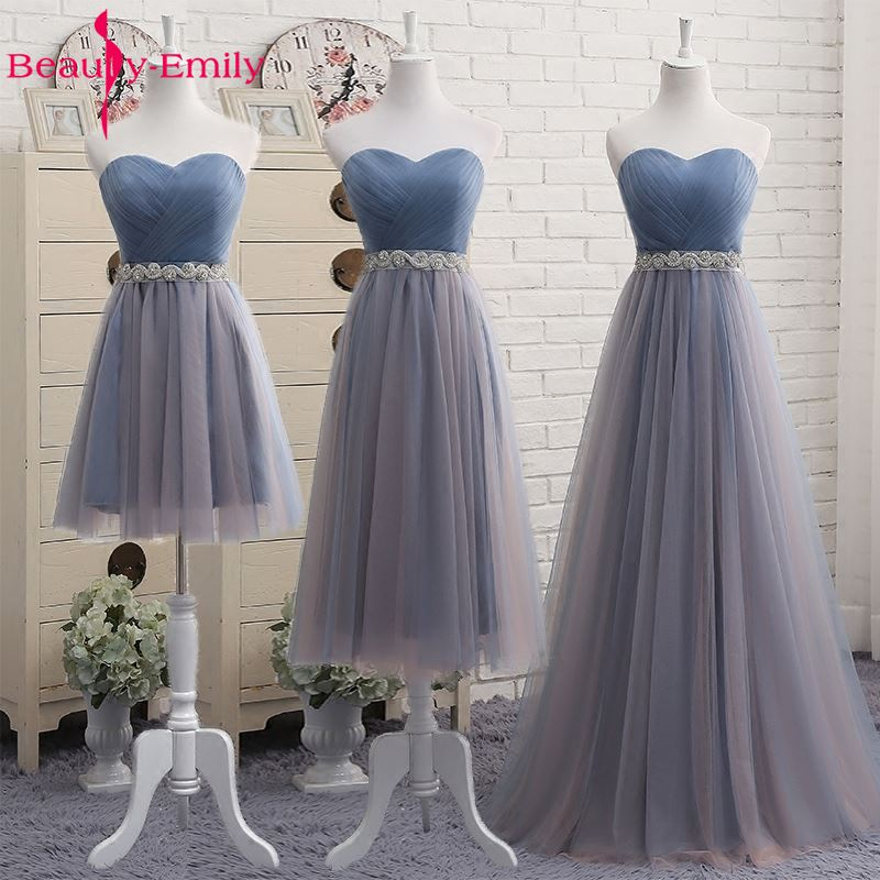 Beauty Emily High Quality Tulle Long Short Bridesmaid Dresses Elegant Formal A-line Vintage Party Prom Dresses Off the Shoulder