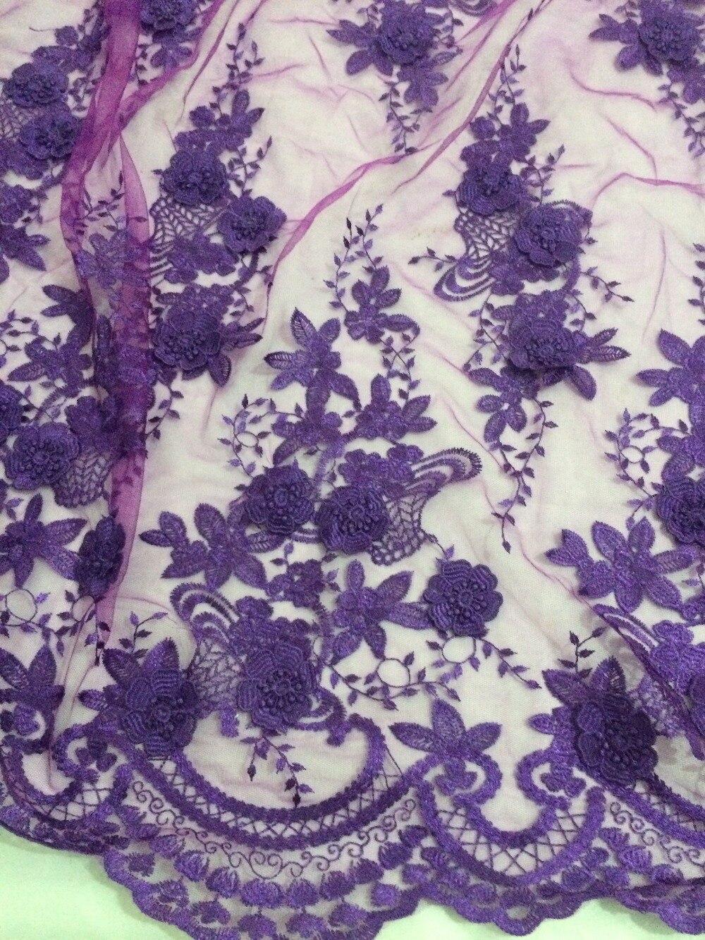 Ładny wygląd 3d kwiat CiCi 51203 afryki koronki netto mesh tkaniny haftowane koronki tkaniny w kolorze fioletowym w Koronka od Dom i ogród na  Grupa 3