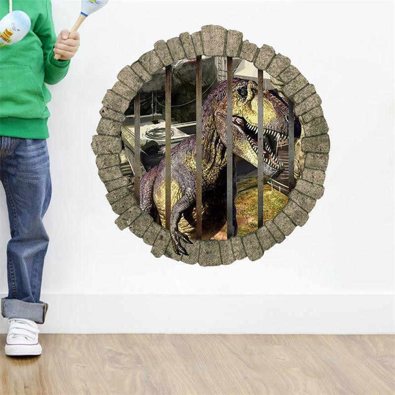 3d Динозавр через наклейки на стену для детей детские комнаты декор комнаты мультфильм настенные наклейки с животными Детские обои ПВХ настенное искусство
