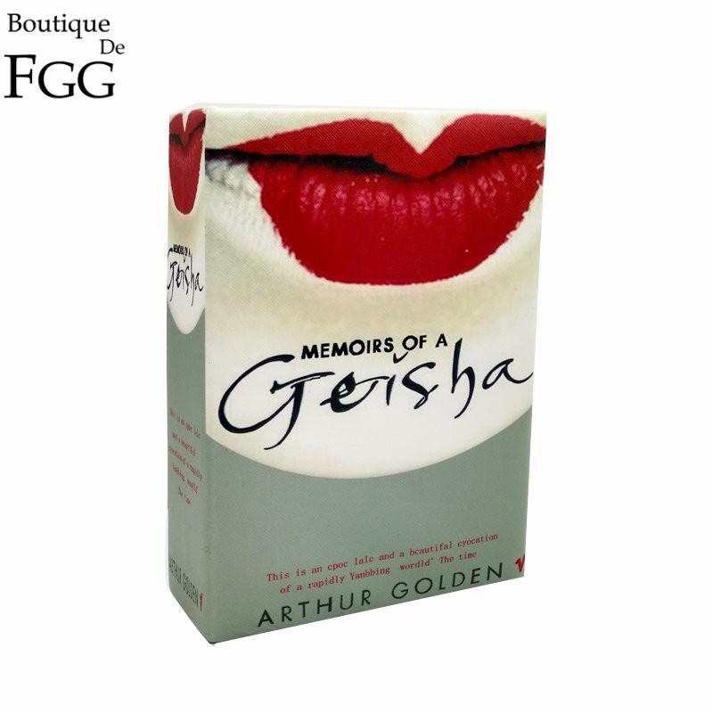 Prix pour Vintage Designer Geisha Femmes Journal Livre D'embrayage Boîte de Soirée Épaule Sacs À Main Casual Bandoulière En Métal Sac de Messager Embrayages Sac