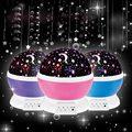 De alta Calidad de Auto-Rotación Cosmos Cielo de la Estrella Romántica Luna Noche LED Lámpara de Luz Para 4 baterías xAAA o USB