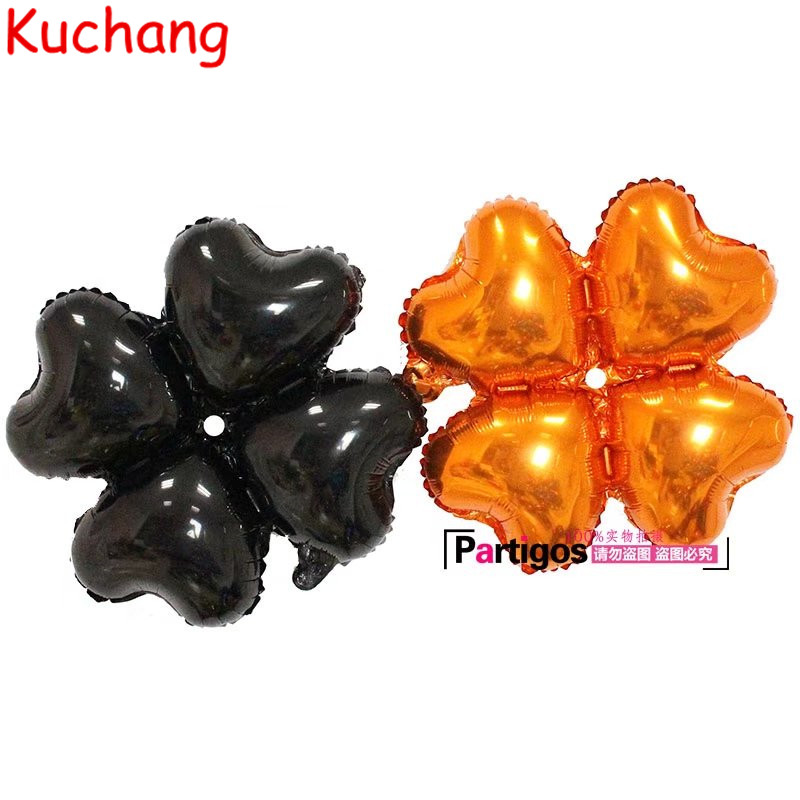 50pcs/lot Black Orange 4 petals Foil Balloons Birthday Halloween Party 18 inch Four leaf Clover Aluminum balloon Decor Supplies