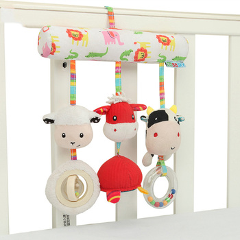 Baby Rattles Toys Stroller Hanging Soft Toy Cute Animal Doll Crib Bed Bells Music sheep