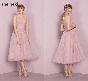 Женское Короткое платье подружки невесты, розовое платье без рукавов с v-образным вырезом, Тюлевое со складками на бретельках, для свадебной...