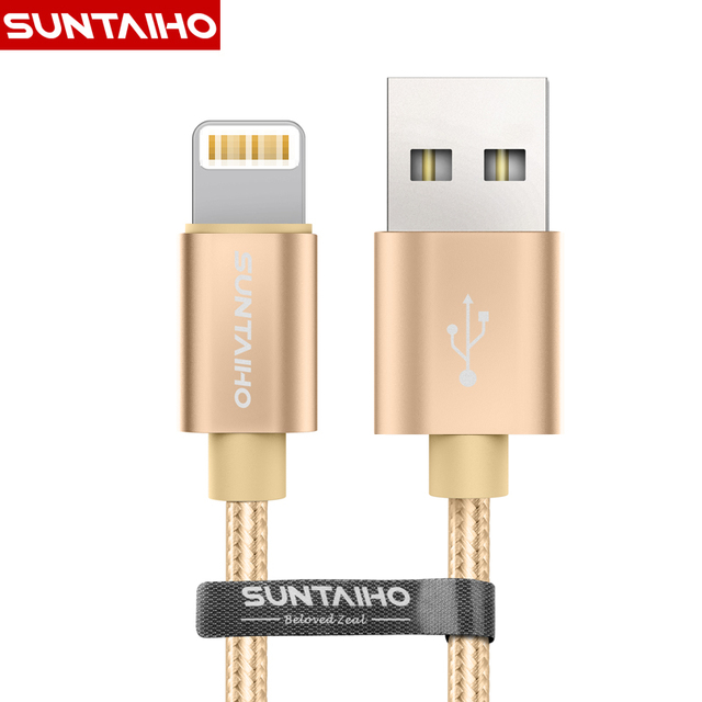 Suntaiho 8 pin Metal Braided Lightning to USB Cable,for iPhone Cable Data Sync Charger USB Cable For iPhone 5s 6s 7 Plus IOS 10