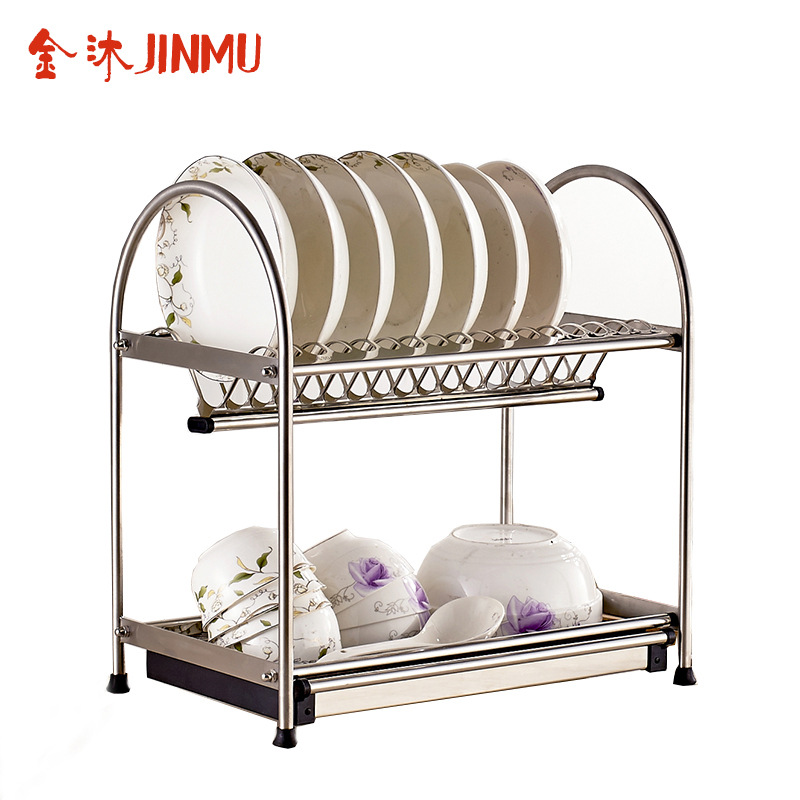 Household kitchen Double layer dish drain rack 304 stainless steel dishes drip rack kitchen dish tools multi functions double layer desktop kitchen storage rack kitchen tools holder dish rack stainless steel