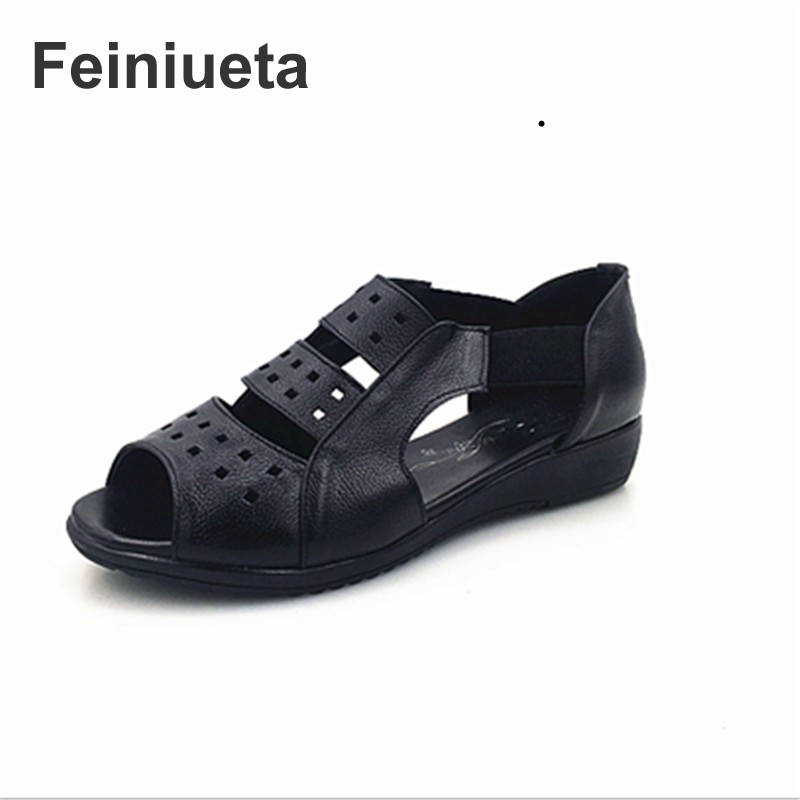 Feiniueta new leather women's sandals flat bottom shoes soft base mother shoes in the elderly with the hollow fish head sandals timetang mother sandals soft leather large size flat sandals summer casual comfortable non slip in the elderly women s shoes