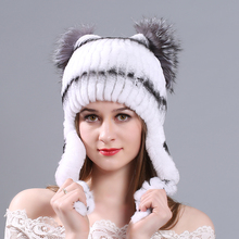 MIARA.L new otter rabbit fur cap for lady ear protection cat hat winter fashion thickened warm manufacturer wholesal