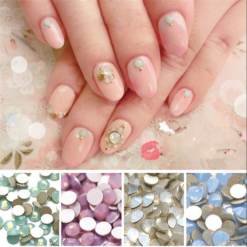 1440pcs SS6 2mm White Green Blue Pink Opal Series Glass Rhinestones Non Hotfixed Bead For Nails 3D Nail Art Decoration Gems mix rhinestones on nails opal crystals of opal rhinestones for nail glass gems 3d nail art strass ongle decorations mjz1025
