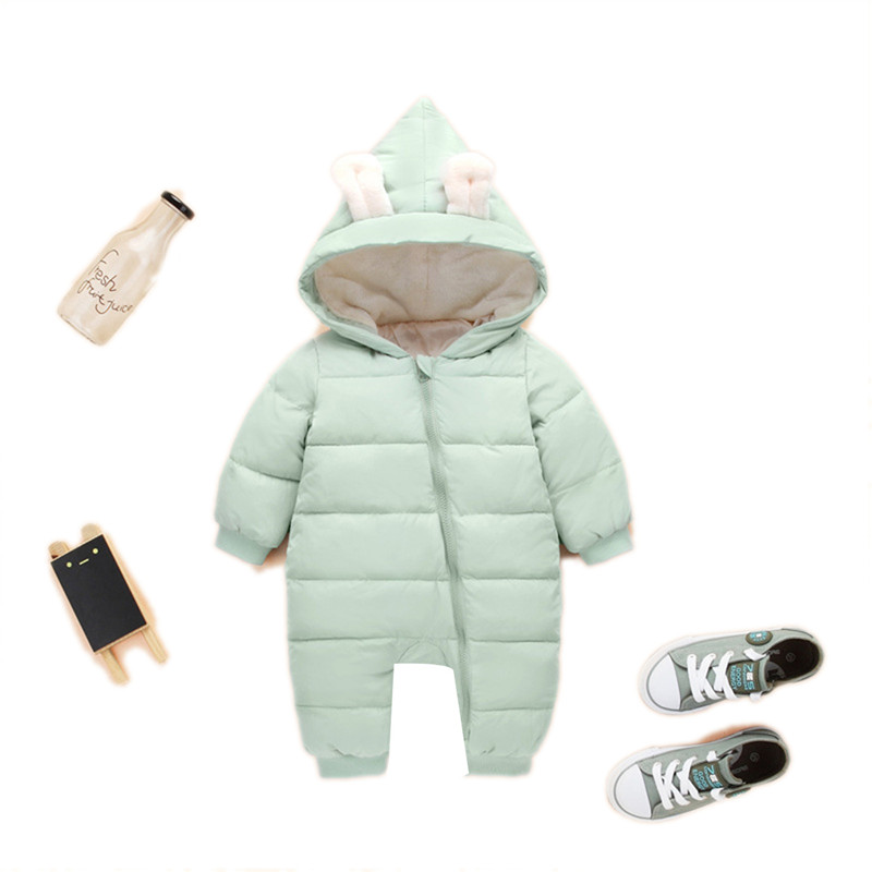 Rabbit Ear Style Overalls For Baby Boys Newborn Clothes Baby Rompers Winter Jackets For Baby Girls Clothing Spring Autumn Coats baby rompers 2016 spring autumn style overalls star printing cotton newborn baby boys girls clothes long sleeve hooded outfits