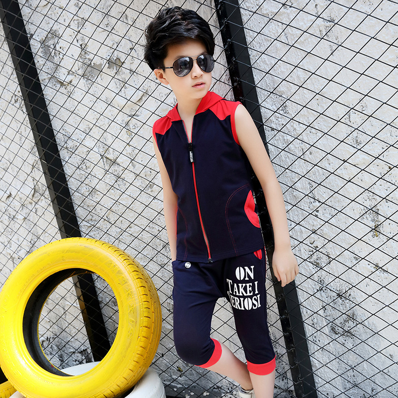 Larger Children's Summer Cotton Set 4-8years old Kids' Outdoor Leisure Tide 2018 New Boys Hooded Sleeveless T-Shirts And Shorts mint green casual sleeveless hooded top