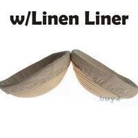 배 Banneton Brotform 20 센치메터 직경 라운드 빵 교정 증명 바구니 린넨 무료 P & P