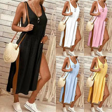 Women Long T-shirt Blouse Maxi Dress Slim Sleeveless Split Cotton Vest Tank