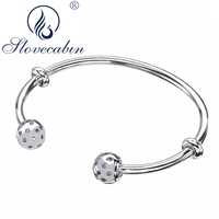 Slovecabin Vintage Open Bangle Real 100% 925 Sterling Silver Moment Bangle & Bracelet For Women High Quality Silver 925 Jewelry