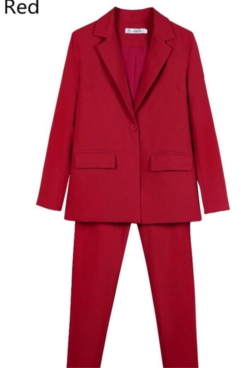 Czerwony kobiety spodnie smokingu 2 sztuka zestaw (kurtka + spodnie) kobiet garnitur kobiet jednolite biuro panie Pantsuits wykonane na zamówienie w Spodnium od Odzież damska na AliExpress - 11.11_Double 11Singles' Day 1