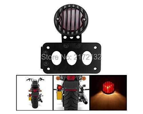 ФОТО 1pcs Motorcycle steel License Plate Bracket Holder Rear Brake Tail Light Lamp For Harley Chopper Bobber Cafe Racer Sportster 883
