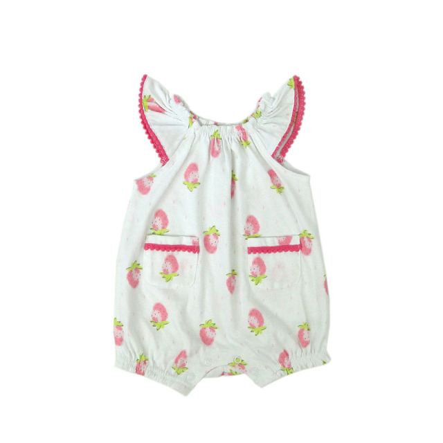 e051f4a2aed6 Strawberry Print Baby Romper Ruffle Sleeve Summer Cotton Infant Girl  Clothing Princess Baby Jumpsuit Costume