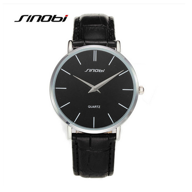 SINOBI Top Brand Quartz-Watch Men Genuine Leather Business Watches Waterproof 30M Watch Male Hour montre homme relogio masculino