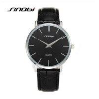 SINOBI Fashion Business Quartz Watch Luxury Brand Watches Men Waterproof Leather Strap Sports Watch Male Hour