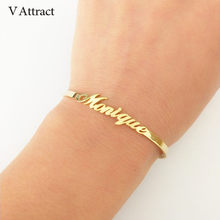 V Attract Personalized Hand Link BFF Jewelry Kpop Custom Name Bracelets Bangles Women Men Bijoux Femme Gold Erkek Bileklik 2018(China)