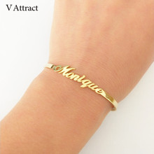 V Attract Personalized Hand Link BFF Jewelry Kpop Custom Name Bracelets Bangles Women Men Bijoux Femme Gold Erkek Bileklik 2018