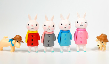 Cute Me Too królik z szalikiem pies z kapeluszem figurka zabawka Model lalki dekoracja wnętrz urodziny prezent na boże narodzenie