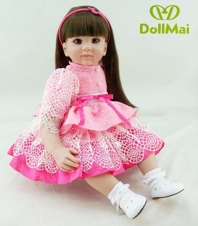 22 56 cm Reborn babys puppen infant prinzessin kleinkind rose rosa kleid spielzeug baby mädchen realistische brinquedos Spielzeug geschenke sammlung