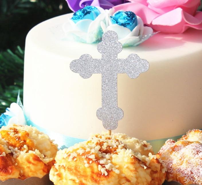 Initiatief Jongen Kinderen Doopsel Cupcake Toppers Zoete Tafel Heilige 1st Communie Glitter Zilveren Kruis Cake Top Aantrekkelijk Uiterlijk
