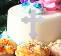 Muchacho niños Bautismo Bautizo Cupcake Toppers Mesa Dulce pastel de primera Comunión santa Cruz de plata del brillo Superior