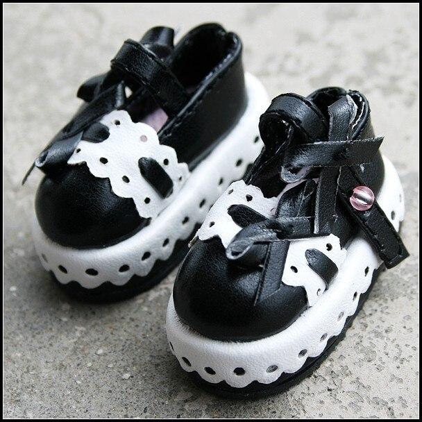 d7c0b9f48 [Wamami] 14 # الأسود و الأبيض 1/6 SD AOD DZ BJD Dollfie جلدية الزي/أحذية ~  4.7 سنتيمتر