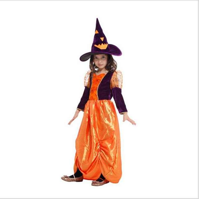 halloween costume childrens costumes lovely pumpkin witch princess dress cosplay