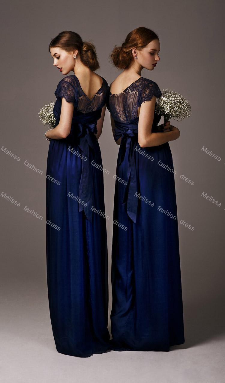 2016 Midnight Blue Lace Y Illusion Crew Neck Short Sleeves Floor Length Chiffon Bow Tie Back Bridesmaid Dresses In From Weddings