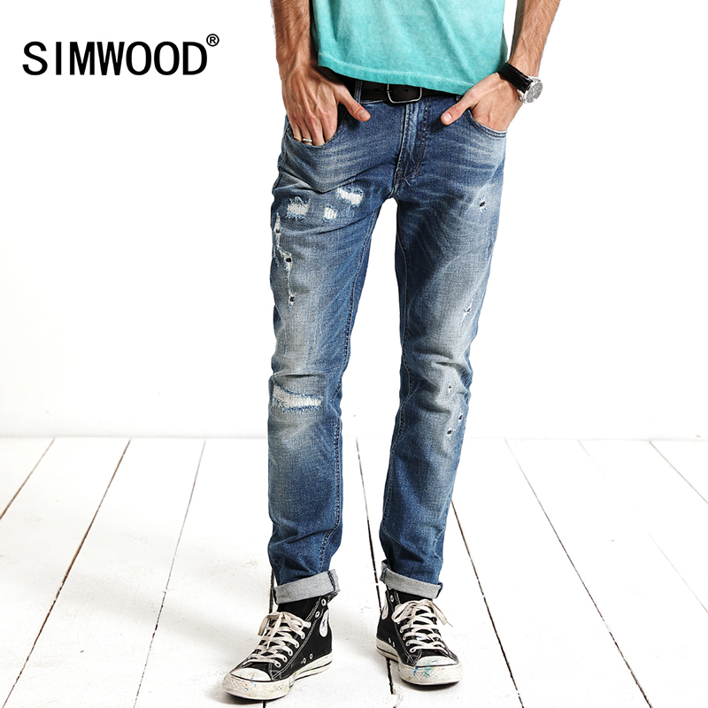 SIMWOOD 2018 New spring Fashion Hole Jeans Men Long Trousers skinny ripped distressed jeans Denim Pants Plus Size SJ6083 wholesale 2016 new unique fashion runway hiphop hole wornout ripped girl pants jean destroy womens slim denim jeans trousers