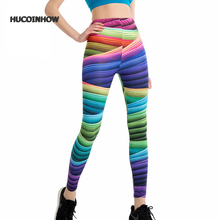 3D Printed Yoga Pants Gym Sports Clothing Women Yoga Leggings Fitness Sportswear Striped Tights Jogger Running Sport Pants