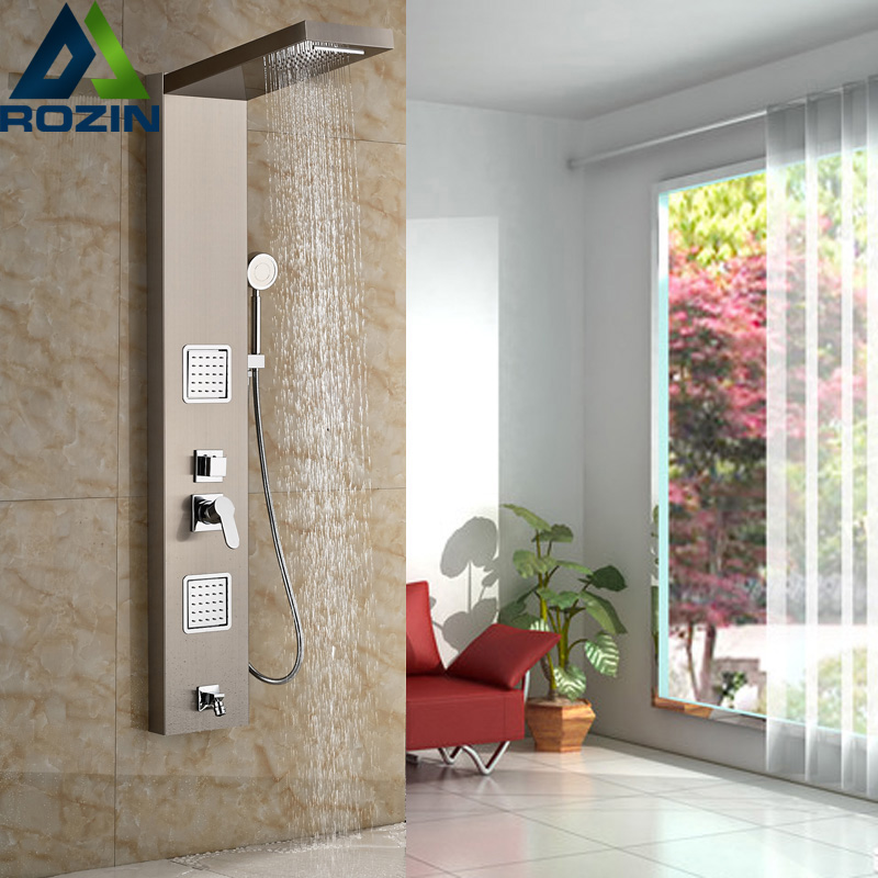 Stainless Steel Bathroom Bath Rainfall Shower Column Panel Brass Massage Control System Single Handle with Jets & Hand Shower up 4 portable folding desk stand holder for ipad iphone laptops more black