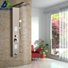 Нержавеющая сталь ванная комната Ванна дождевой Душ столбца Панель латунь массаж Управление системы одной ручкой с струй и ручной душ