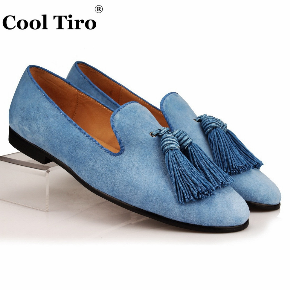 Cool Tiro Men Loafers Suede Slip Slippers Tassel Wedding Dress Shoes Genuine Leather Men s Moccasins